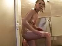 Asian milf in soapy massage